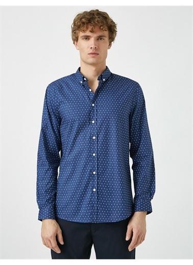 Koton Klasik Yaka Uzun Kollu Baskili Gömlek Lacivert